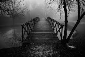 pont noir et blanc brume